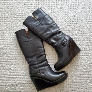UGG Black Wedge Leather Boots